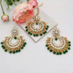 AccentsUK tikka and earring set with green beads and imitation kundan stones