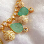 SATI – Green/Blue Custom Made Necklace & Earrings Set - close up of necklace