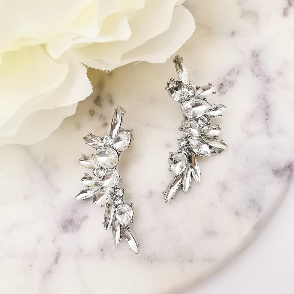 AccentsUK statement silver earrings moon shape