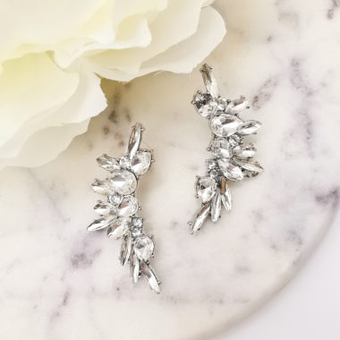 AccentsUK statement silver earrings moon shape