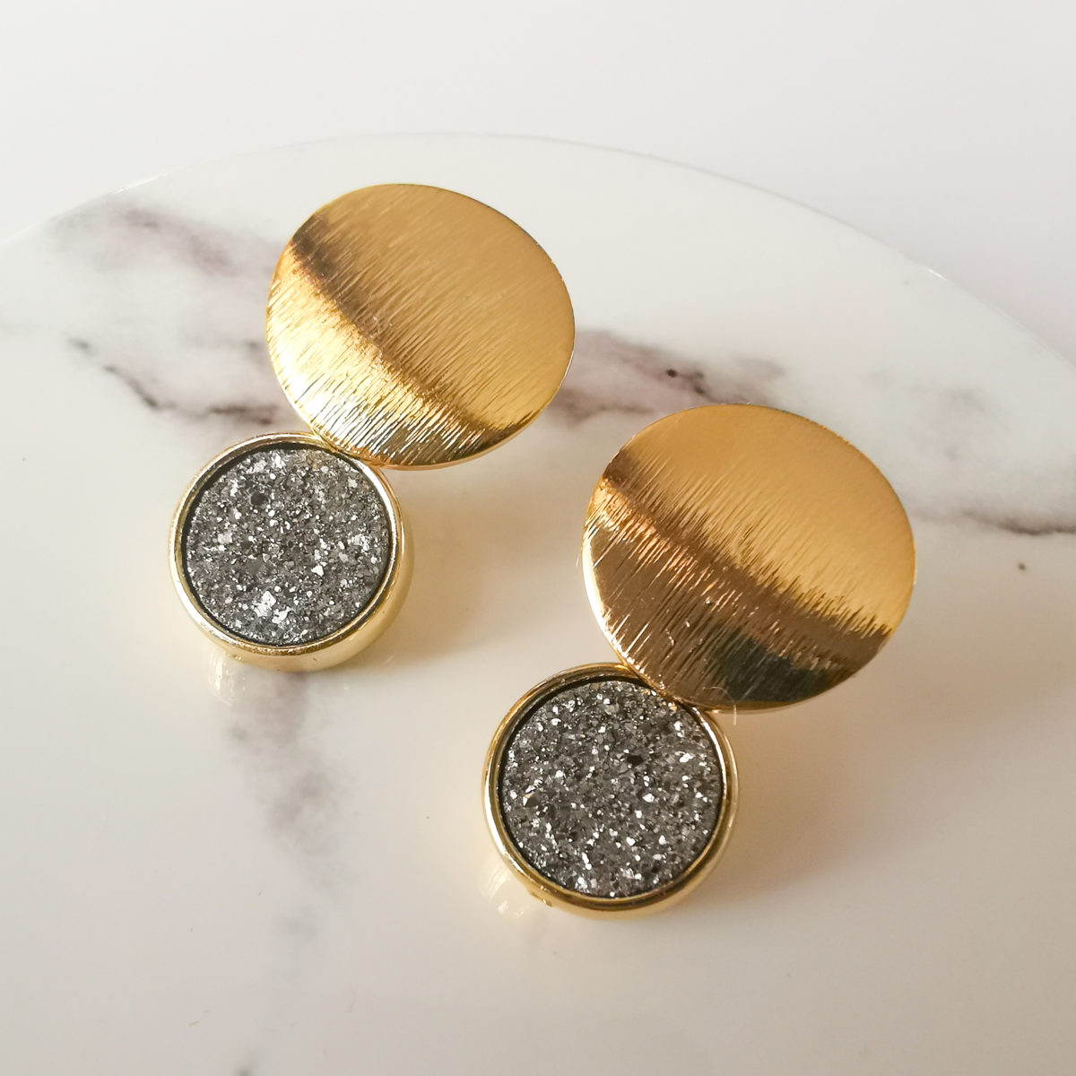 18k gold earrings with grey druzy charm