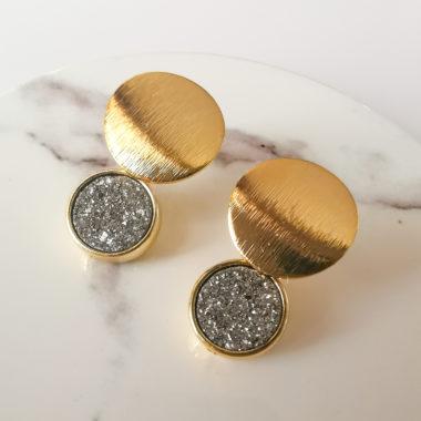 18k gold earrings with grey druzy charm