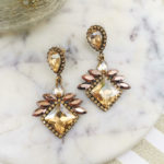 Fusion drop statement earrings golden and pink