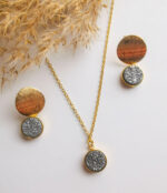 Gold link chain necklace with grey druzy charms and matching 18k gold earrings