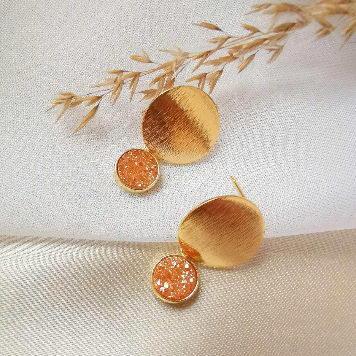 AccentsUK SARIKA Golden Peach 18k Gold Plated Earrings