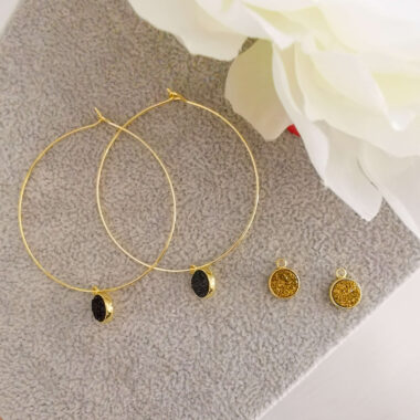 AccentsUK Dainty gold hoops with golden and black druzy charms