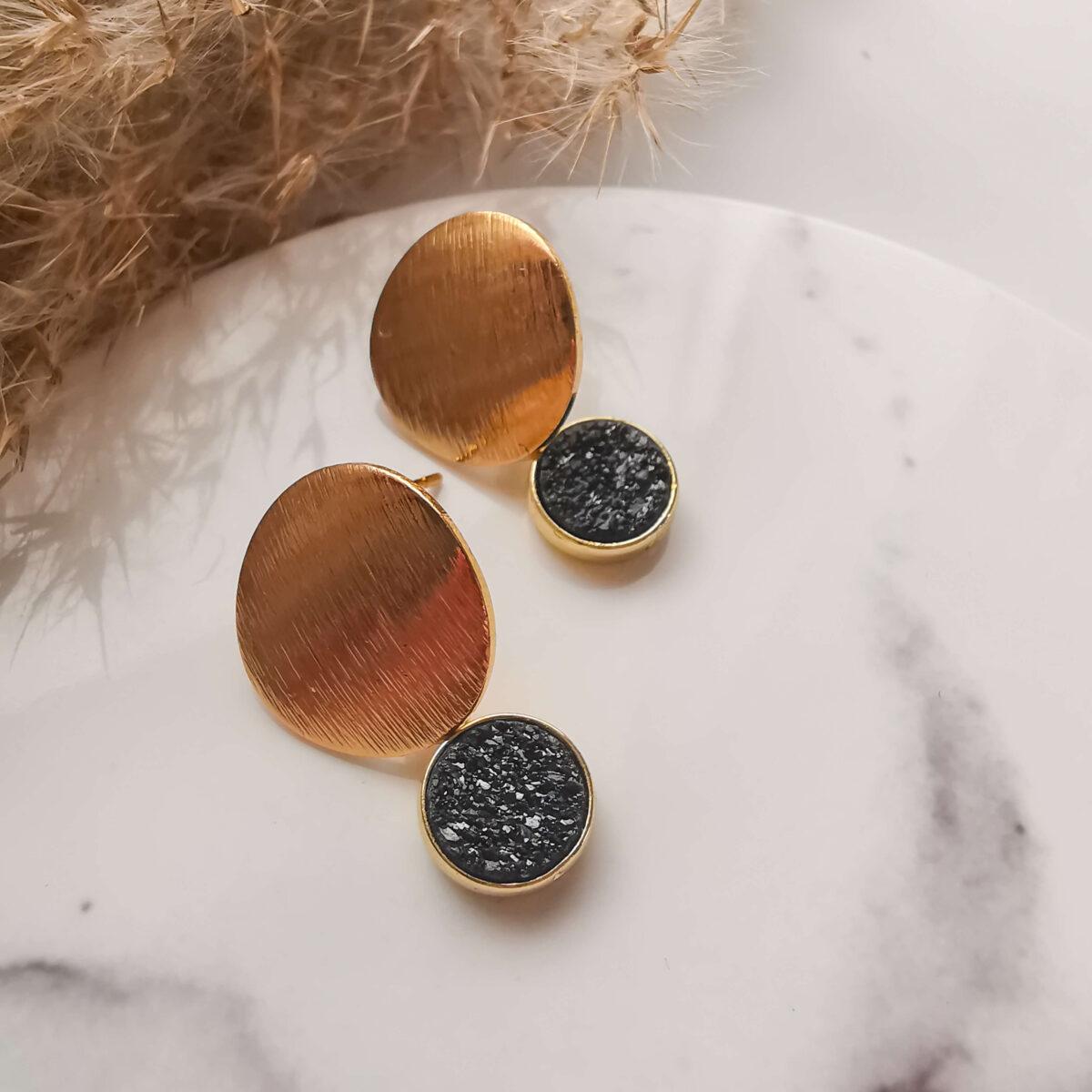 AccentsUK - Small Black Druzy Earrins