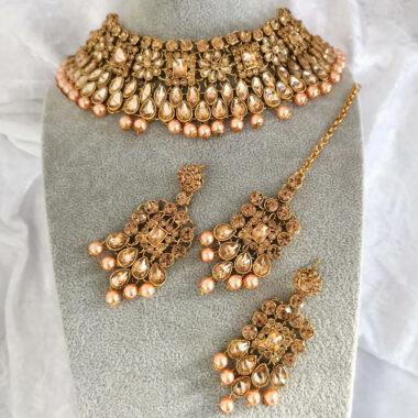 TARITA – Statement Gold Necklace Earring & Tikka Set full