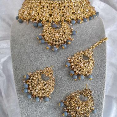 SITA – Statement Grey & Gold Necklace Tikka & Earring Set full set view