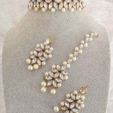 AccentsUK Vaani choker floral design with imitation peals