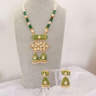 KRITI - Green & Gold Meenakari Long Necklace & Earring Full Set