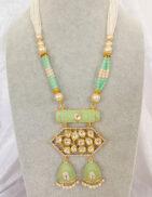 KRITI - Mint & Gold Meenakari Long Necklace & Earring Set
