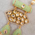 KRITI - Mint & Gold Meenakari Long Necklace & Earring Set close up of pendant