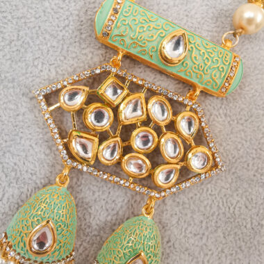 KRITI - Mint & Gold Meenakari Long Necklace & Earring Set close up of pendant