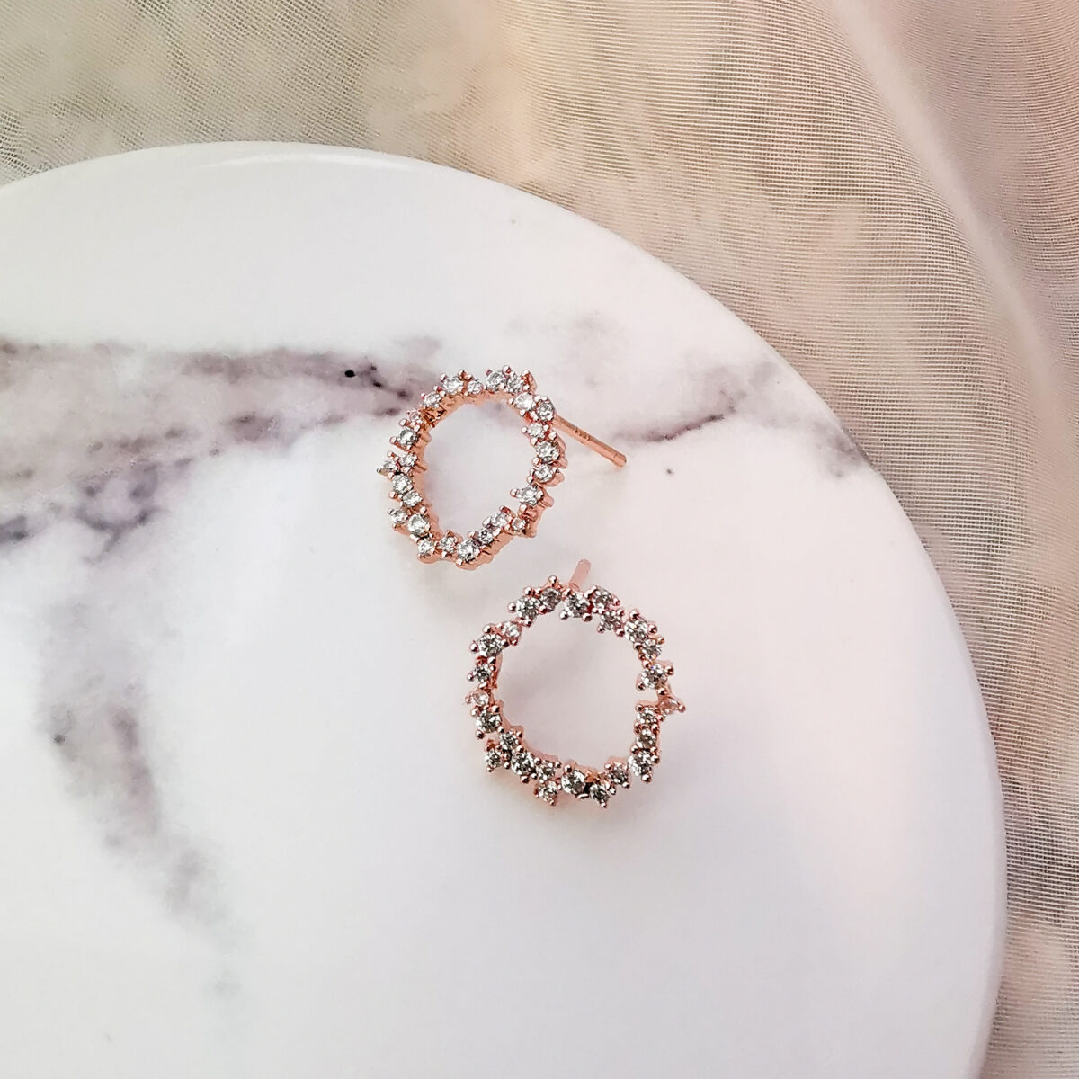 AccentsUK Saadhvi Rose Gold Dainty Stud Earrings