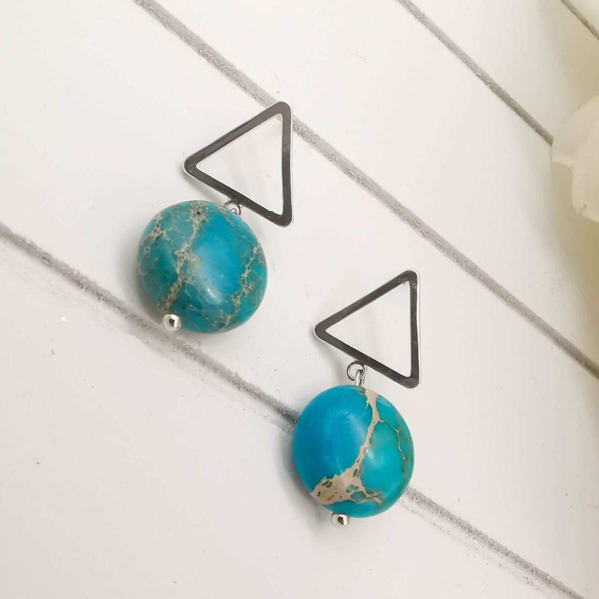 REVA - Silver Unique Turquoise Stone Earrings bottom angle view up