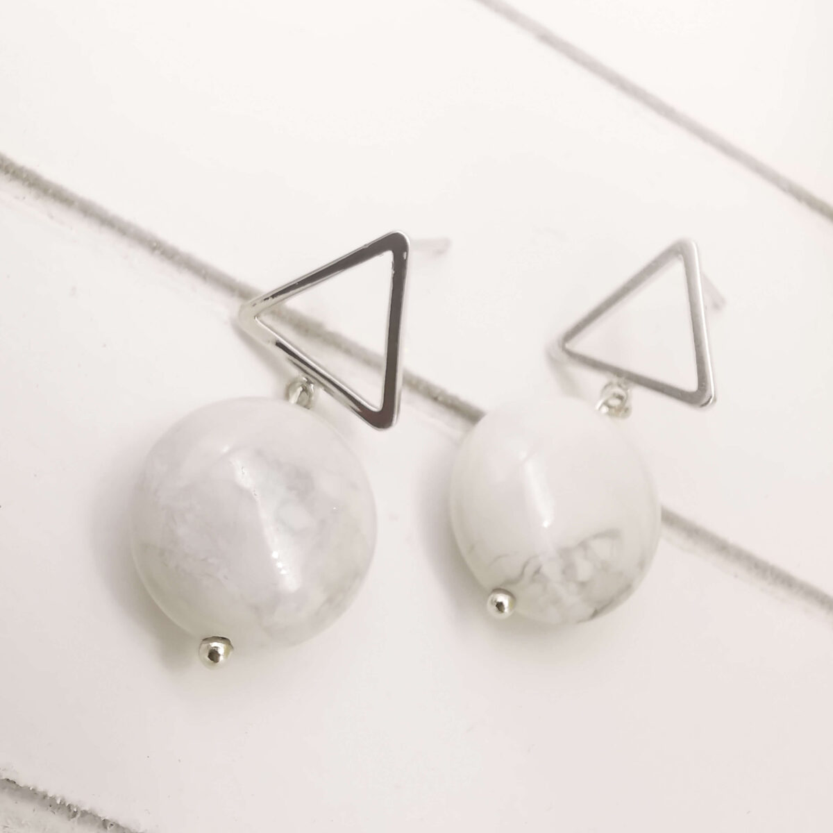 REVA - Silver White Marble Look Stone Earrings bottom angle view up