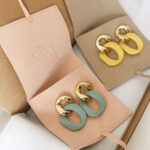AccentsUK Gold & Matte Colour Chain Link Earrings