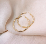 AccentsUK Gold Bamboo Style Hoop Earrings
