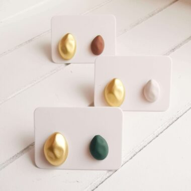 AccentsUK Irregular Stud Earrings in Brown, Green and White