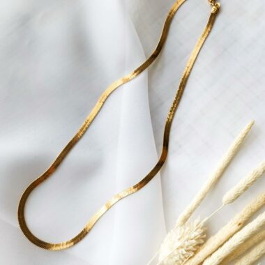 AccentsUK Gold Snake Bone Necklace 16in