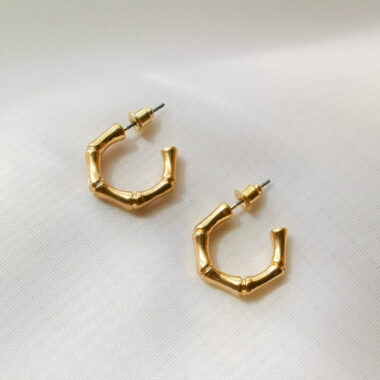 AccentsUK Mini Gold Bamboo Style Hoop Earrings
