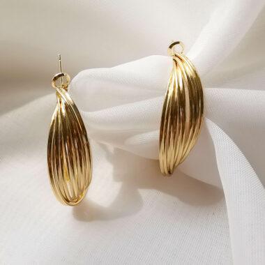 Accentsuk Gold Large Twist Hoop Earrings