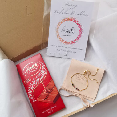 AccentsUK Raksha Bandhan Gift Set - Multi Tourmaline Adjustable Bracelet, Lindt Milk Chocolate and Customisable Card