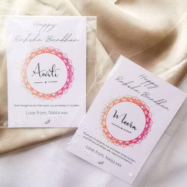 AccentsUK Raksha Bandhan Gift Set - Customisable Card options, mandala design in ombre orange and pink