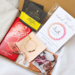 AccentsUK Ultimate Raksha Bandhan Gift Set - Multi Tourmaline Adjustable Bracelet, Lindt Milk Chocolate, Customisable Card, Chamomile Tea, Affirmation Gratitude Cards