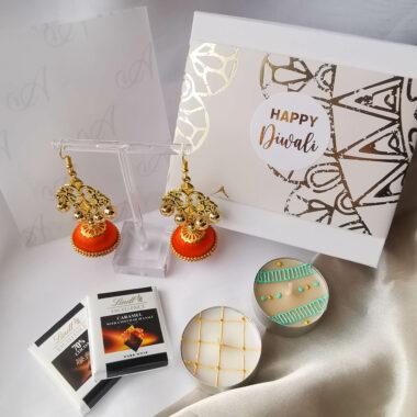 AccentsUK Diwali Gift Box 2021 - Jhumki earrings, tea lights & Lindt chocolates